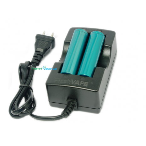 FlashVAPE Smart Quick Dual Battery Charger with 2x Extra Li-ion Batteries